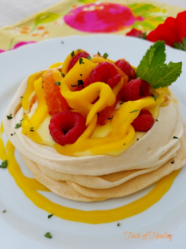 Saffron Pavlova with Orange Chai Spiced Crème Patisserie and Exotic Fruits :: Gluten-Free, Grain-Free