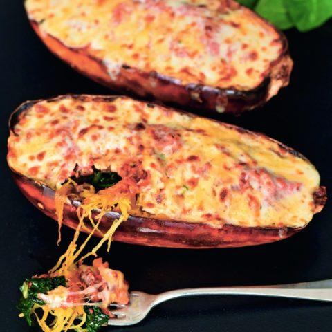 Italian Stuffed Spaghetti Squash :: Gluten-Free & Grain-Free // deliciousobsessions.com