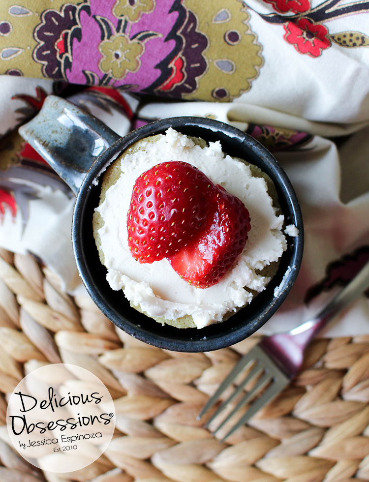 Easy Vanilla Mug Cake :: Gluten-Free, Grain-Free, Dairy-Free, Refined Sugar-Free // deliciousobsessions.com