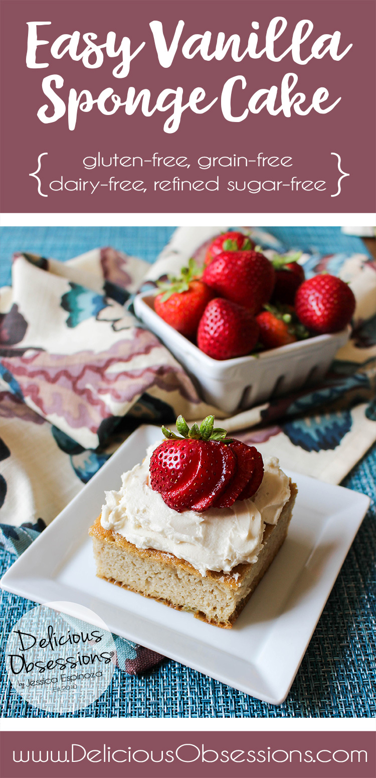 Easy Vanilla Sponge Cake :: Gluten-Free, Grain-Free, Dairy-Free, Refined Sugar-Free // deliciousobsessions.com