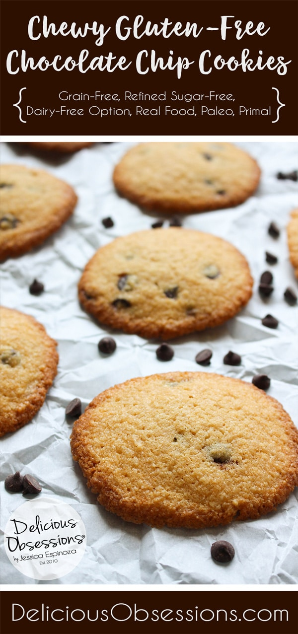 Chewy Gluten-Free Chocolate Chip Cookies :: Grain-Free, Refined Sugar Free, Dairy-Free Option // deliciousobsessions.com