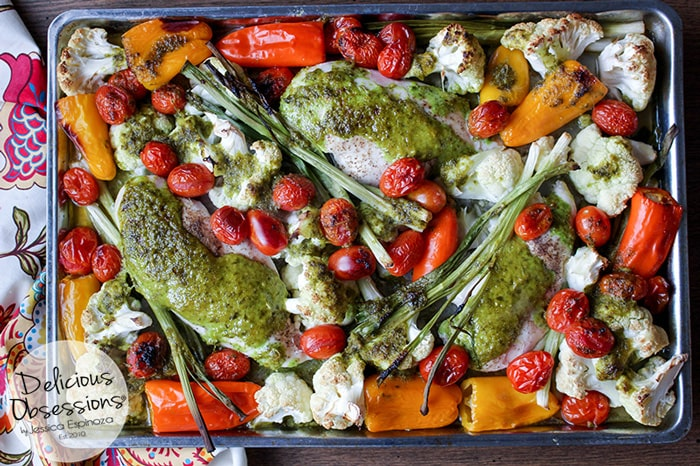 Garlic Basil Sheet Pan Chicken :: Gluten-Free, Grain-Free, Dairy Free // deliciousobsessions.com