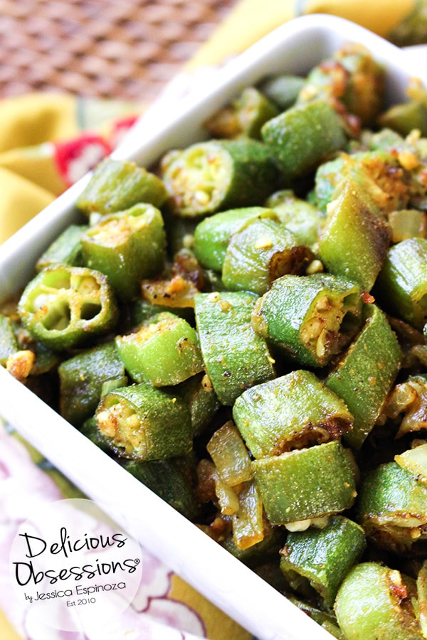 Mama's Bhindi Okra :: Gluten-Free, Grain-Free, Dairy-Free // deliciousobsessions.com
