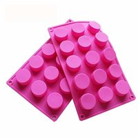 BAKER DEPOT 15 Holes Cylinder Silicone Mold for Handmade soap Jelly Pudding Cake Baking Tools Biscuit Cookie Molds Hole Dia: 1.58 inch Vol: 20ml Set of 2