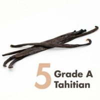 Vanilla Beans (Tahitian) Grade A Whole - 5 x Prime Gourmet - 5 to 6 inches for Extract, Baking, Coffee, Brewing, Cooking