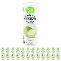 100% Organic Coco Joy Premium Coconut Water 11 Fl oz Can - 12 Pack Refreshing, Non-GMO, No Added Sugar, Packed with Electrolytes, No Preservatives