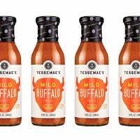 Tessemae's Natural Mild Buffalo Sauce 4 pack, Whole30 Certified, soy-free, dairy-free, gluten-free, sugar-free, vegan