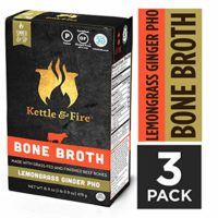 Lemongrass Ginger Pho Beef Bone Broth by Kettle and Fire, Pack of 3, Keto Diet, Paleo Friendly, Whole 30 Approved, Gluten Free, with Collagen, 10g of protein, 16.9 fl oz