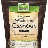 NOW Foods, Certified Organic Cashews, Whole, Raw and Unsalted, Rich Buttery Flavor, Source of Fiber, Protein and Iron, Certified Non-GMO, 10 oz.