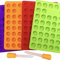 My Fruit Shack DIY Fruit Snacks Set - 4 BPA-Free LFGB/FDA Grade Silicone Molds (Makes 184 Gummies Total), 2 Droppers and 1 Basic Recipe Page