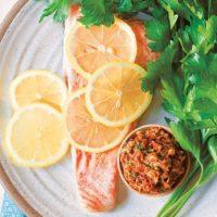 Sun-Dried Tomato Pesto Salmon :: Gluten-Free, Grain-Free, Dairy-Free Option