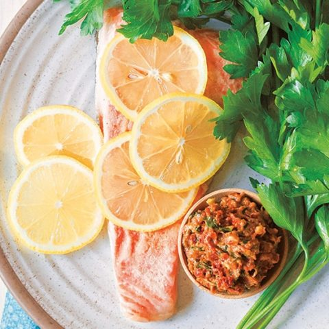Sun-Dried Tomato Pesto Salmon :: Gluten-Free, Grain-Free, Dairy-Free Option