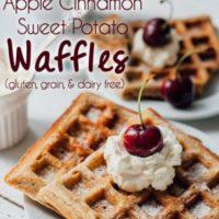 Apple Cinnamon Sweet Potato Waffles (gluten, grain, and dairy free)