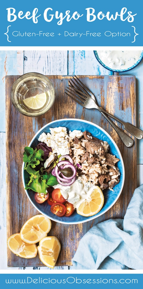 Beef Gyro Bowls :: Gluten-Free, Dairy-Free Option // deliciousobsessions.com