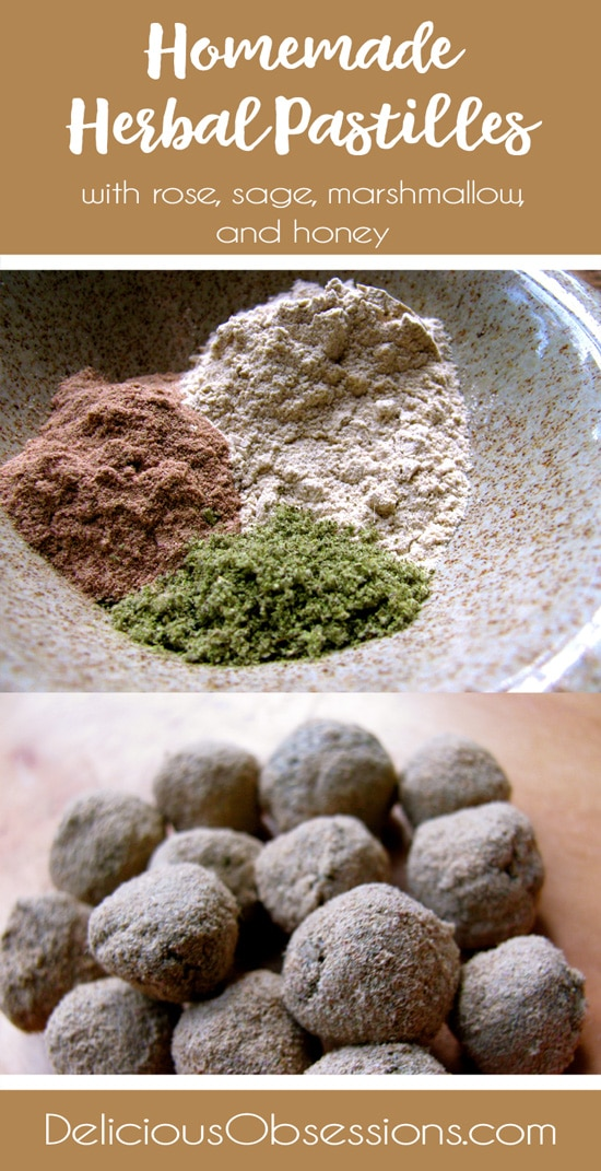 Homemade Herbal Pastilles with Rose, Sage, and Marshmallow // deliciousobsessions.com