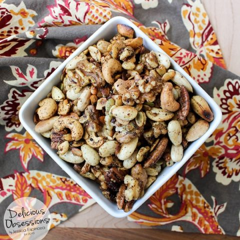 Savory Spiced Mixed Nuts :: Gluten-Free, Grain-Free, Dairy-Free Option // deliciousobsessions.com