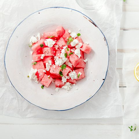 Easiest Watermelon Salad :: Gluten-Free, Grain-Free, Dairy-Free Option // deliciousobsessions.com